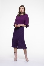 Plum printed kneelength skirt