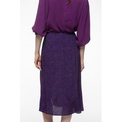 Plum printed kneelength skirt
