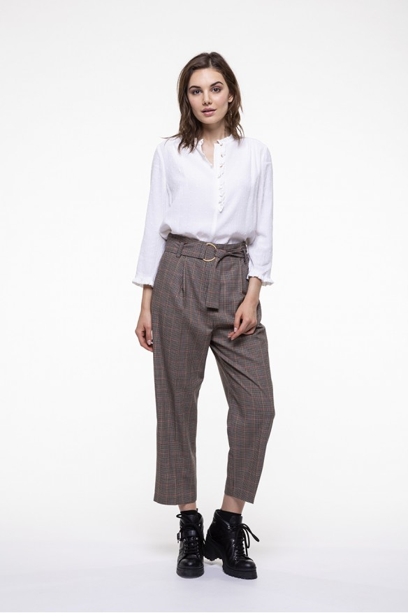 Beige checkered virgin wool blended belted pants