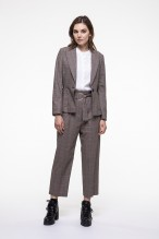 Beige checkered virgin wool blended belted pants