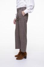 Pantalon raccourci en mélange de laine vierge à carreaux beige