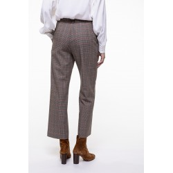Beige checkered virgin wool blended shortened pants