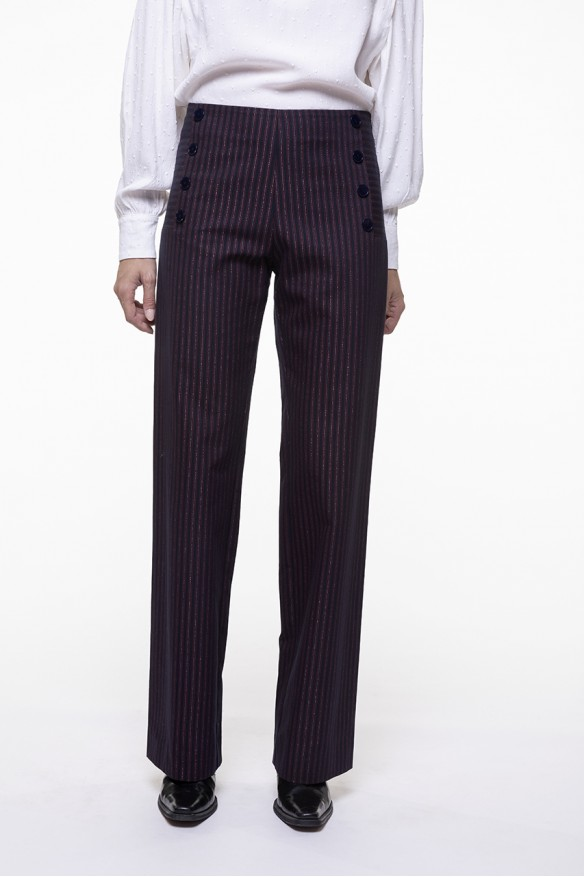 Striped straight pants