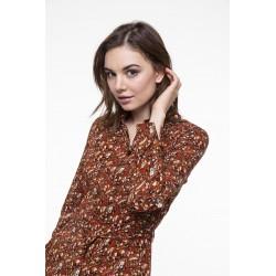 Floral printed kneelenght shirt dress
