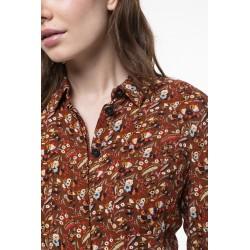 Robe chemise midi à l'imprimé fleuri fond camel