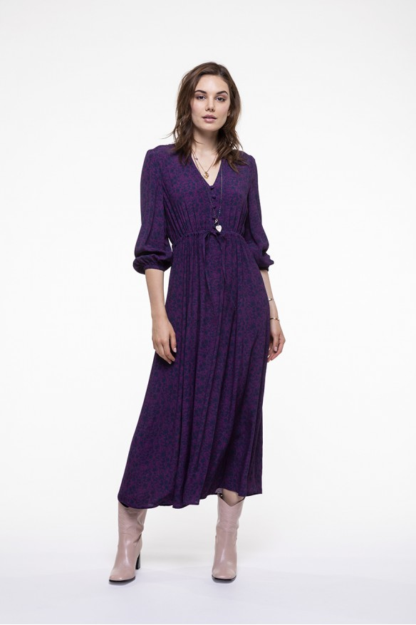 Plum printed midi dress