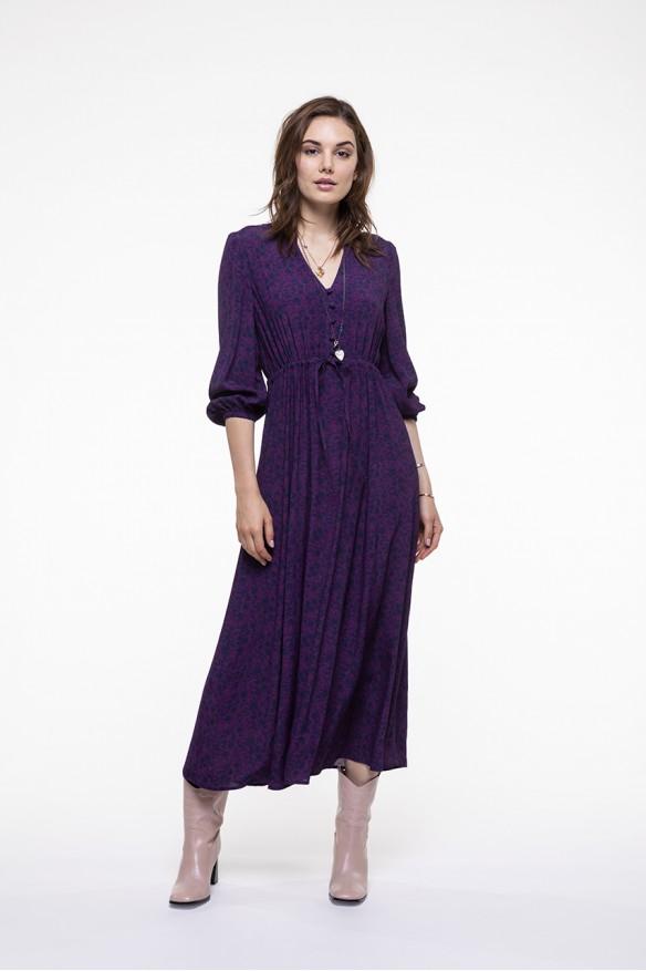 Plum printed midi dress