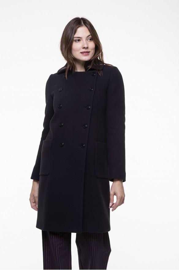 Navy blue coat in virgin blended wool