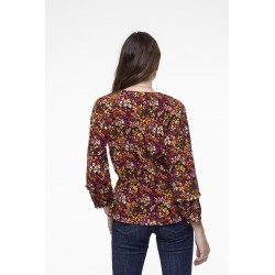 Colored floral printed elasticated waist top