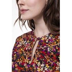 Colored floral printed long sleeved top