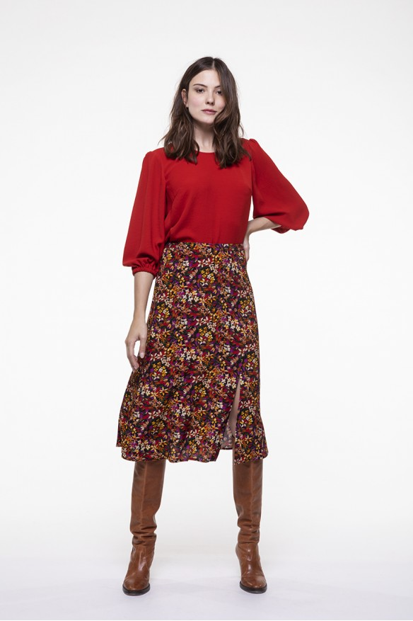 Colored printed midi skirt