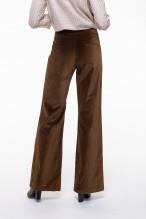 Pantalon flare en velours lisse camel