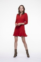 Red dress with round collar