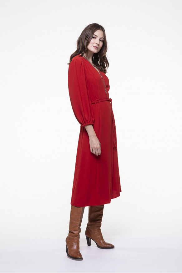 Red long wallet dress