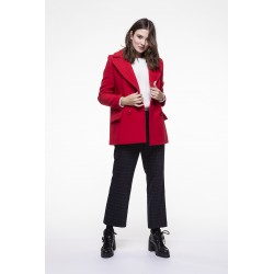 Red Virgin woolen blended coat