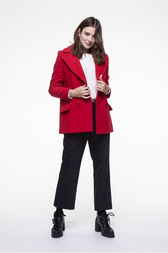 Caban rouge en laine vierge