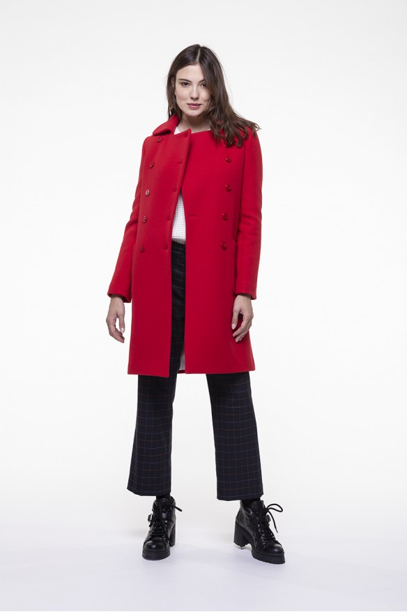 Red virgin blended woolen coat