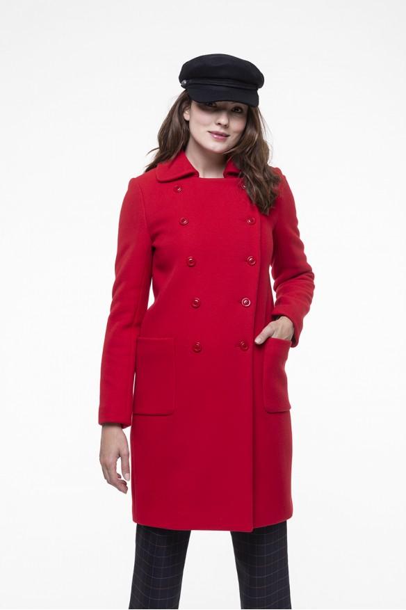 Red virgin blended woolen coat