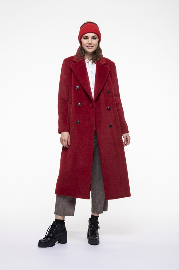 Manteau chaud en alpaga rouge