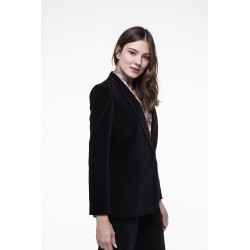 Black smooth velvet tuxedo jacket
