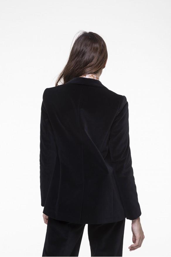 Veste smocking en velours lisse noir