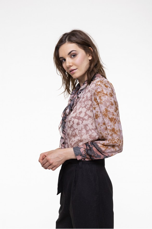 Printed voile flounced shirt