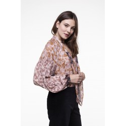 Printed voile bloutsant top