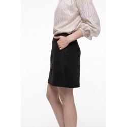 Short black and off-white fine striped skirt