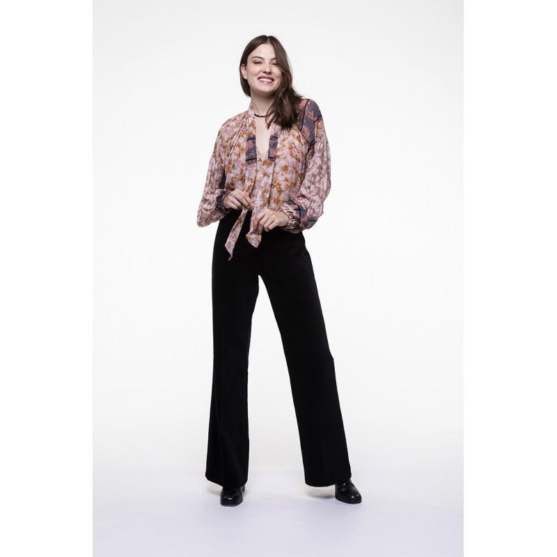 Black smooth velvet flared pants