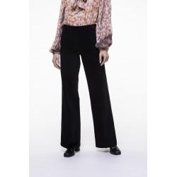 Pantalon flare en velours lisse noir