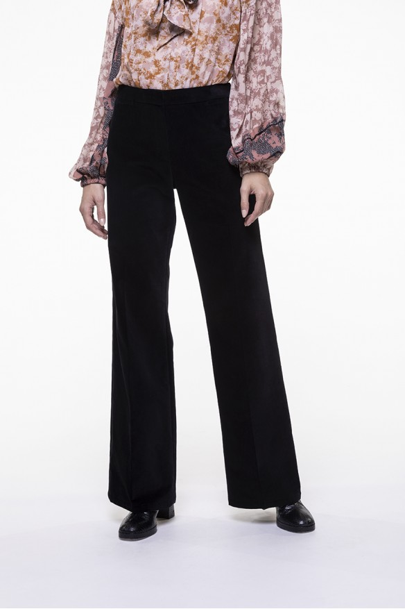 Black smooth velvet flared pants