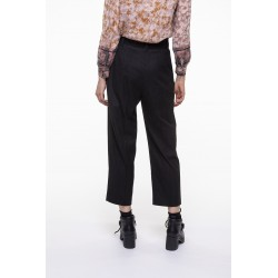 Black and off-white fine striped belted pants