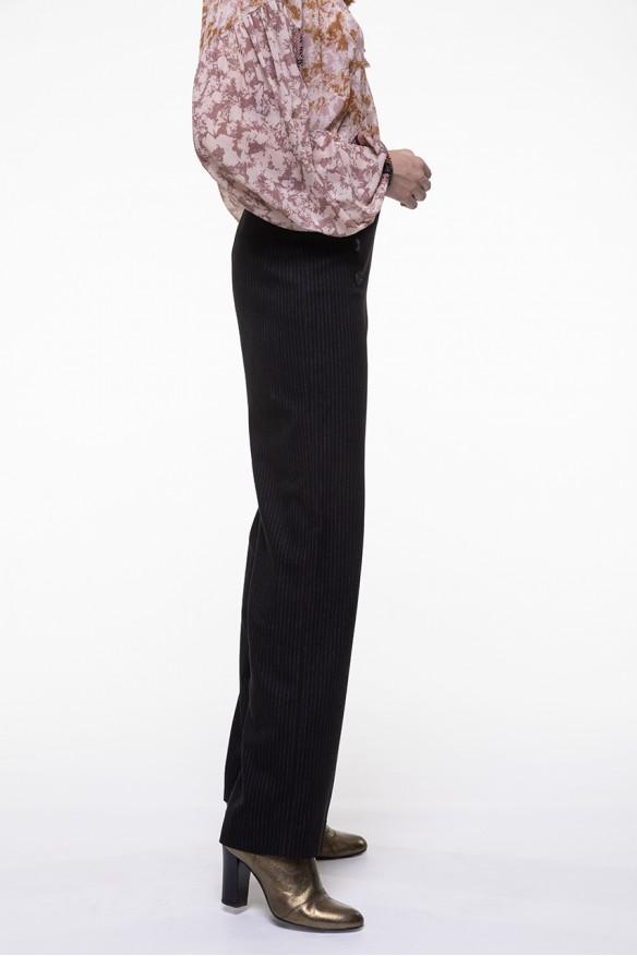Pantalon droit noir à fines rayures écrues