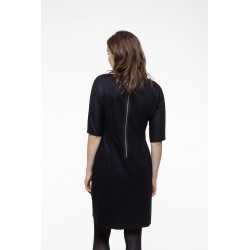 Black wool blended fitted dress