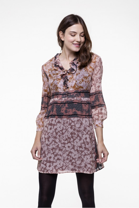 Printed voile flounced dress