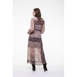 Robe longue taille haute en voile imprimé