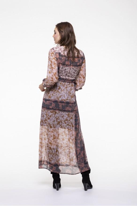 Printed voile high waist dress