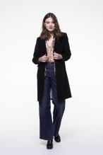 Black cashmere wool blended masculine overcoat