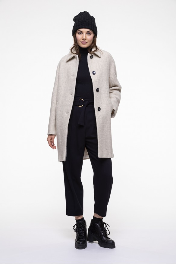 Off-white virgin and woolen blended coat