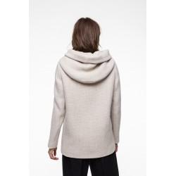 Off-white virgin and linen woolen blended hooded shed