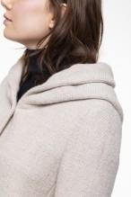 Caban à capuche écru en mélange de laine vierge