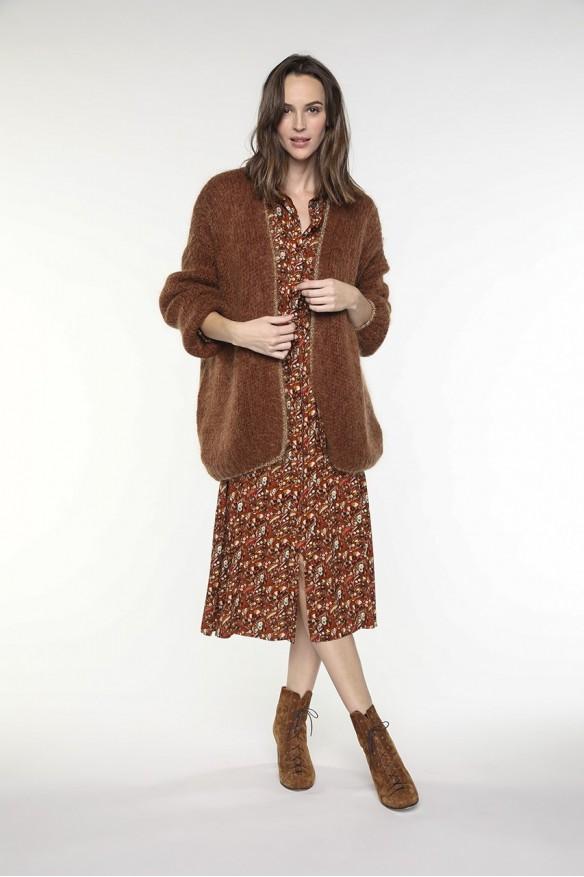 Cardigan en laine mélangée couleur chocolat