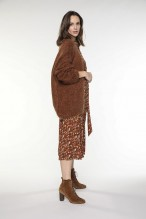 Chocolate colored wool-blended cardigan