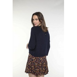 Navy blue wool and cashmere blended sweater with round collar