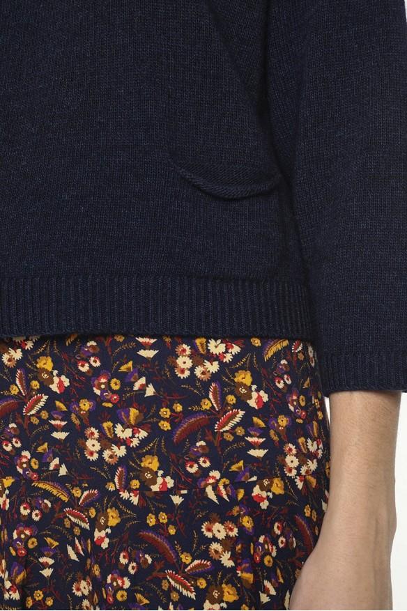 Pull col rond en laine mélangée cachemire couleur marine