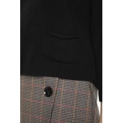 Pull col rond en laine mélangée cachemire couleur noir