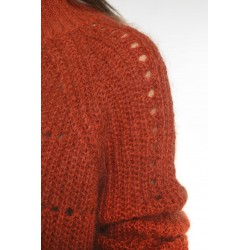 Rust colored wool-blended high neck sweater