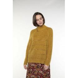 Pull col montant en laine mélangée couleur jaune safran