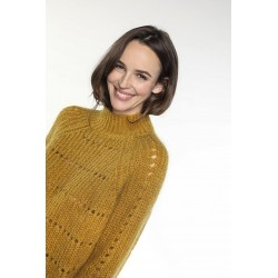Saffron yellow wool-blended pullover with high collar