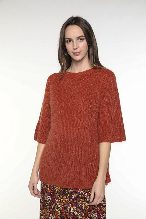 Rust colored wool-blended sweater with a boat neck